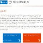 Office  pre release program beta tester registration