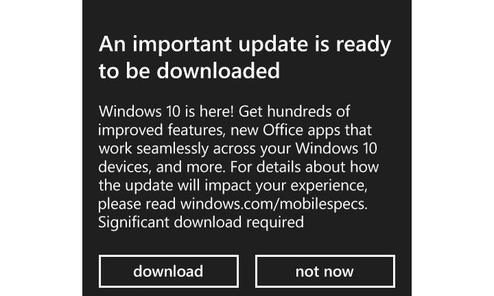 Windows 10 Mobile Upgrade notice featured