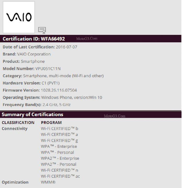 WindowsPoweredVaioPhoneGetsWi FiCertificationMotoG