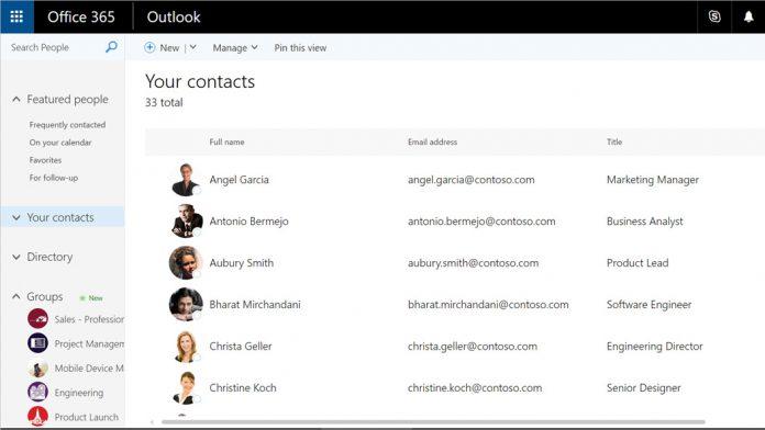 Outlook Peoples List Microsoft