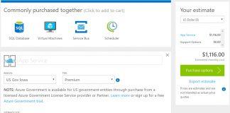 Azure Goverment Calculator Screenshot Own