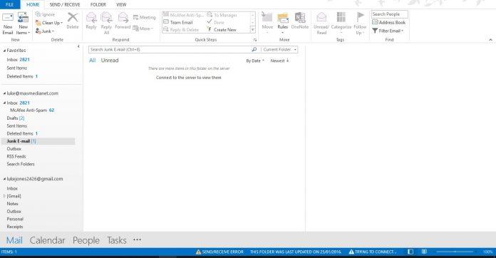 Outlook Desktop Junk Folder Screenshot