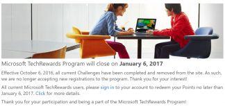 Tech Rewards Closure Screenshot
