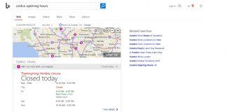 Bing opening hours screenshot own