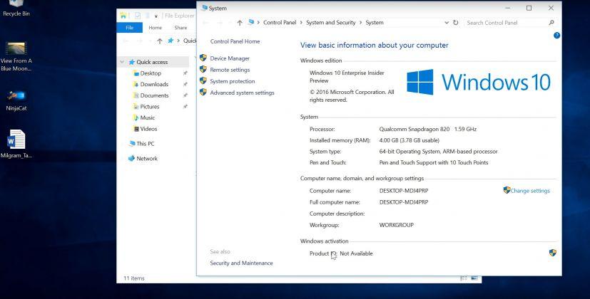 Windows  Enterprise running on ARM Snapdragon  sytem