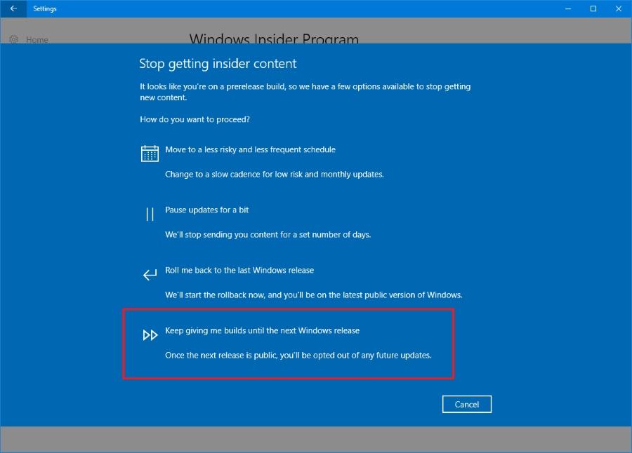 Builds until next Windows Release