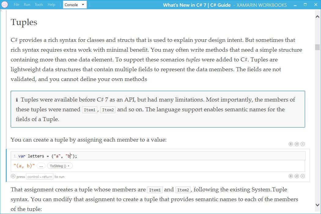 Xamarin Workbooks C# 7 support for Visual Studio 2017