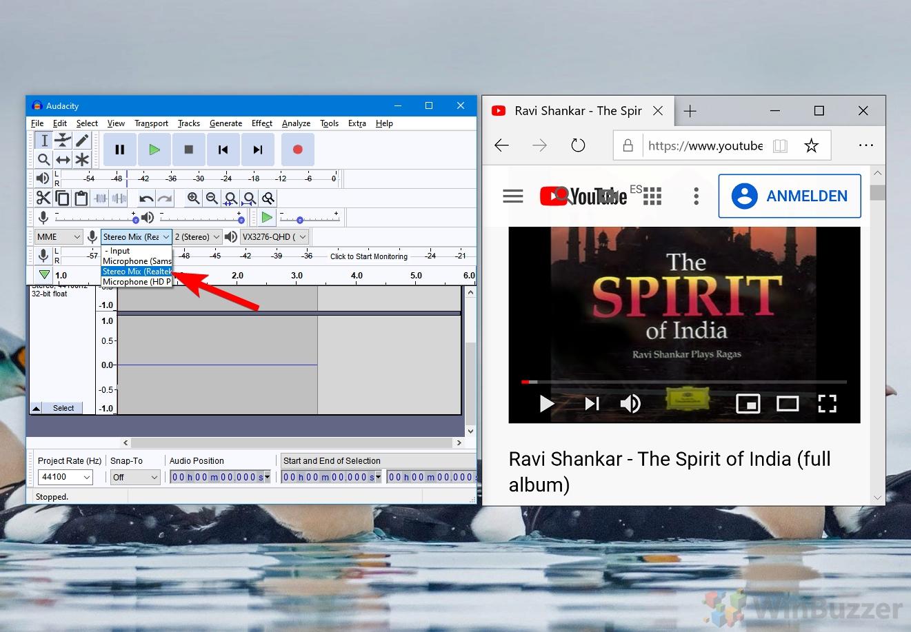 Windows 10 - Audacity - Setting Stereo Mix as Recording Device