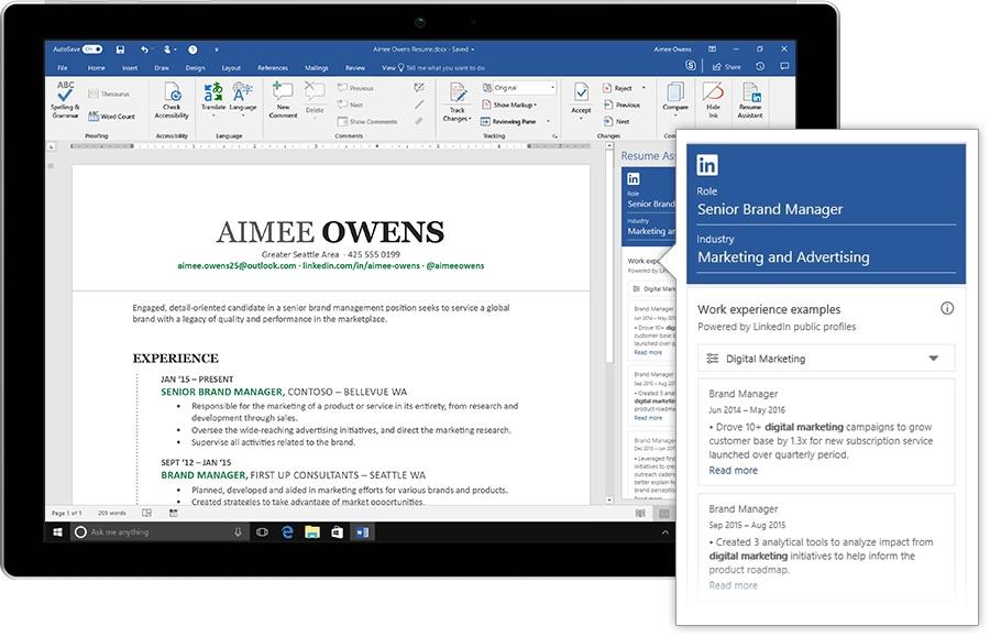 Microsoft Plugs Linkedin Into Word With Resume Assistant Winbuzzer
