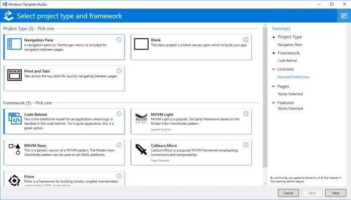 Windows template studio screenshot