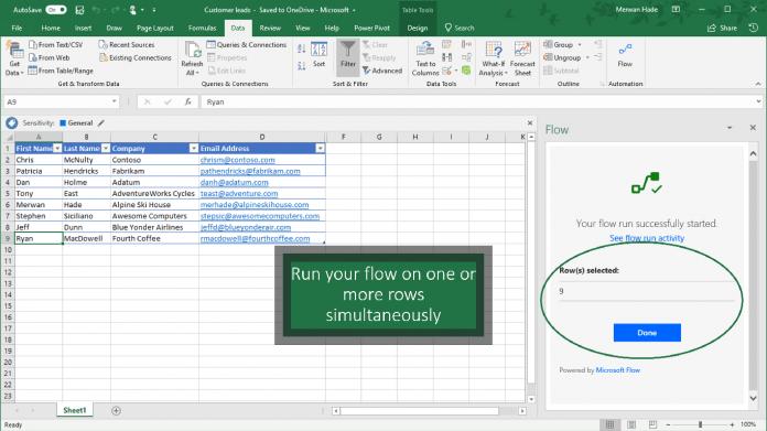 Microsoft Flow add-in in Excel