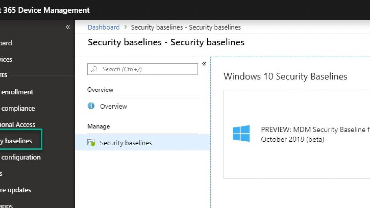 Microsoft Launces Intune MDM Security Baseline