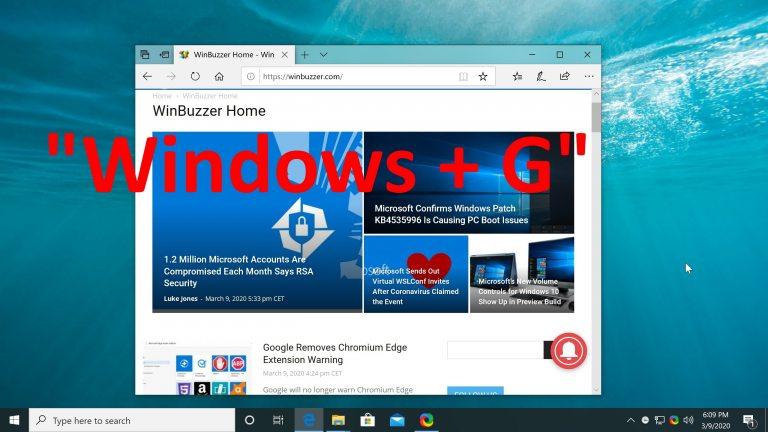 Windows - Open Game Bar - Windows+G Hotkey