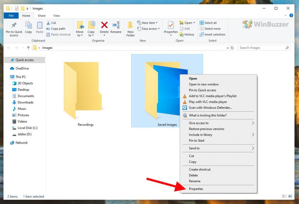 Windows 10 - File Explorer - Folder - Properties