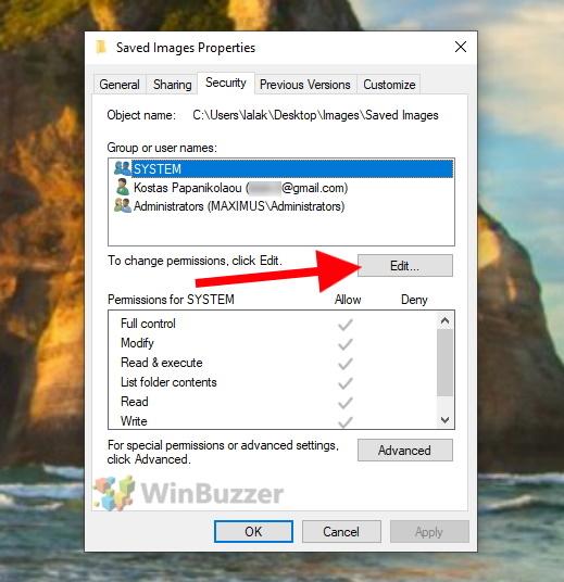 Windows 10 - File Explorer - Folder Permissions