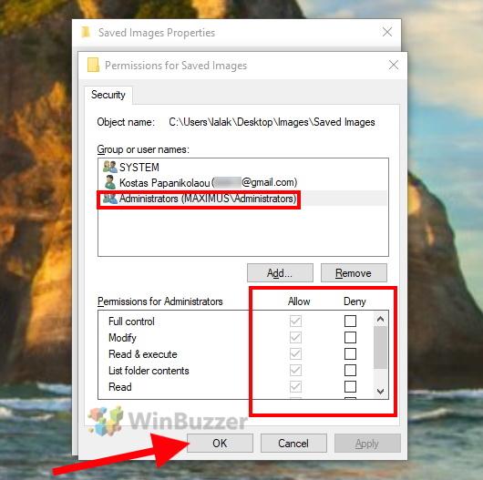Windows 10 - File Explorer - Permissions