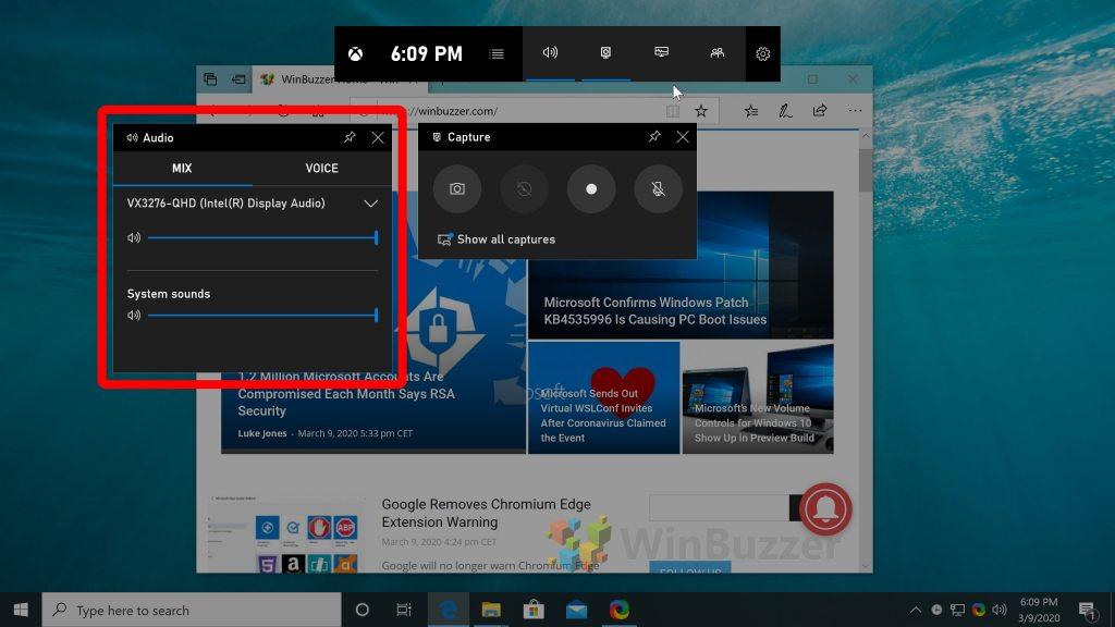 Windows 10 - Game Bar - Choose Audio-Source