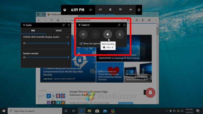 Windows 10 - Game Bar - start screen capture