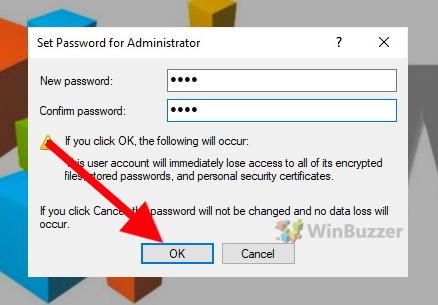 Windows 10 - Set Password for Administrator - Enter password