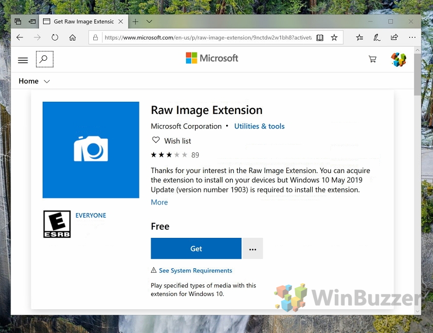 Windows 10 - Microsoft Store - RAW Image Extension