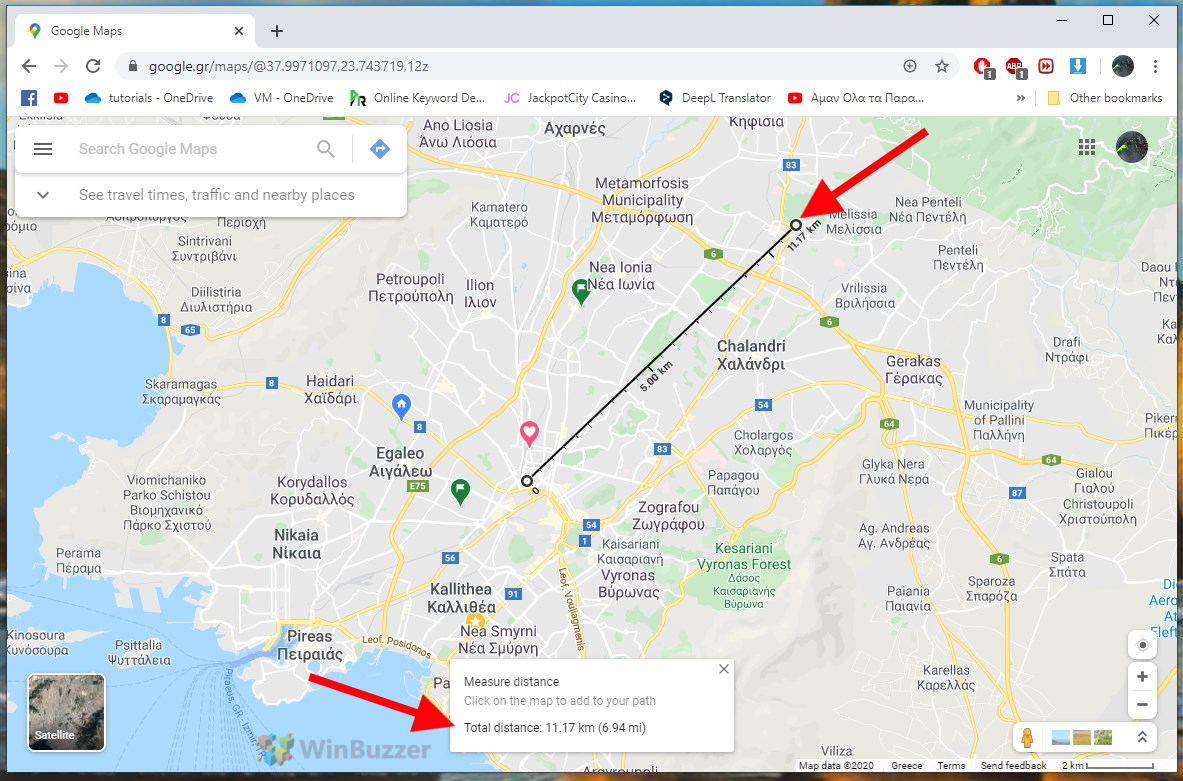 Google Maps Browser - Measure Distance - Select end point