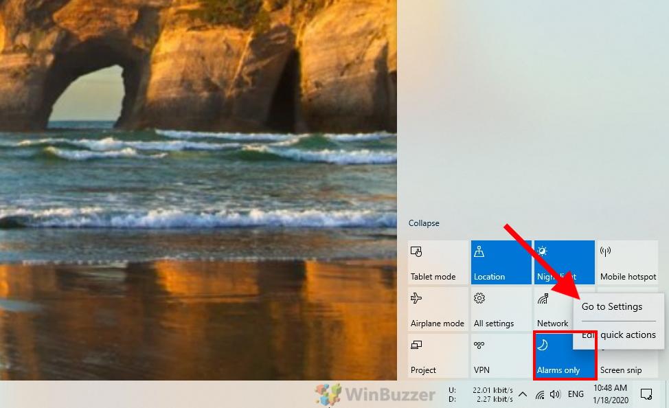 Windows 10 - Action Center - Focus assist