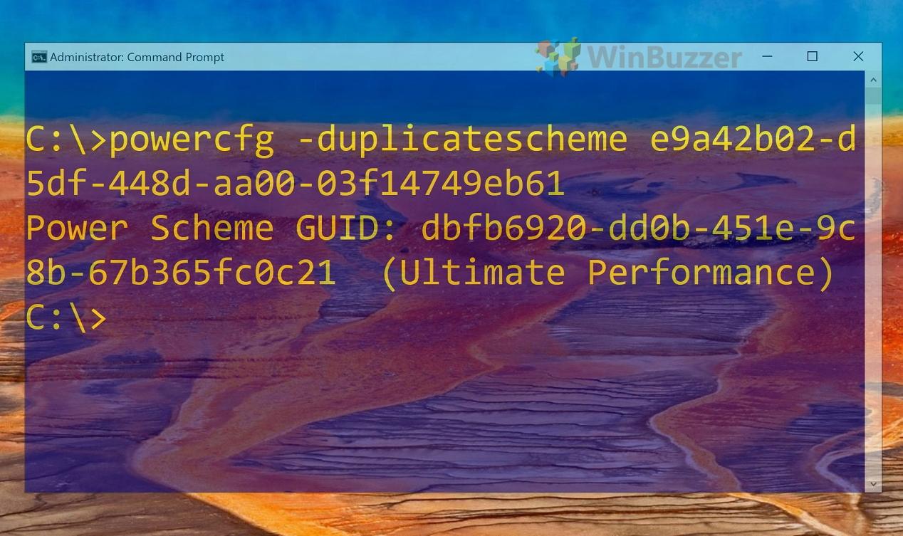 Windows 10 - CMD - powercfg -duplicatescheme