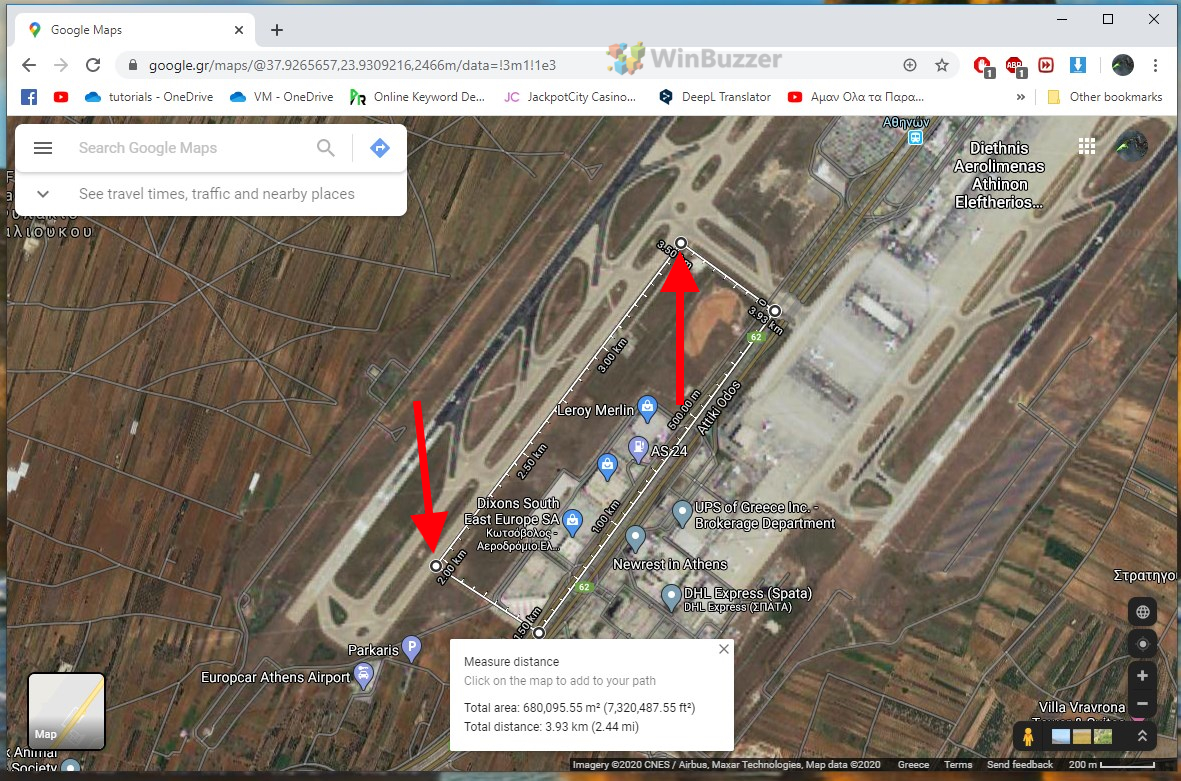 Google Maps Browser - Measure Distance - Measuring areas