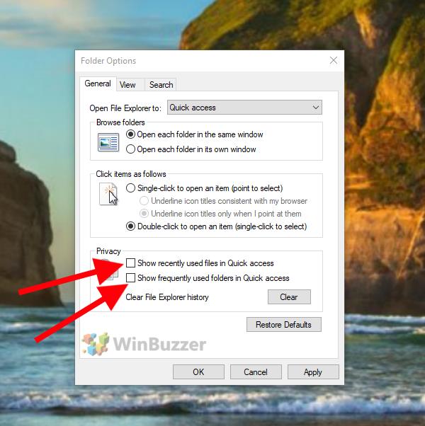 Windows 10 - File Explorer - Folder options - Disable File Explorer History