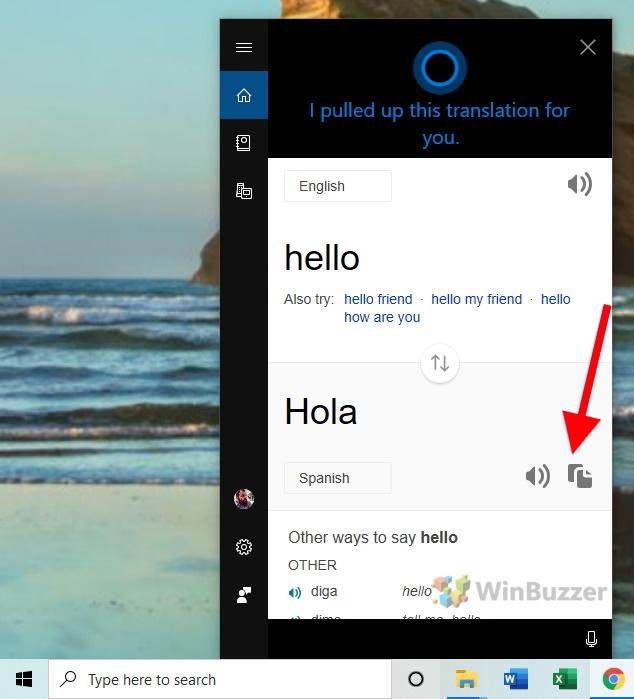 Windows 10 - Cortana - Copy translation to clipboard