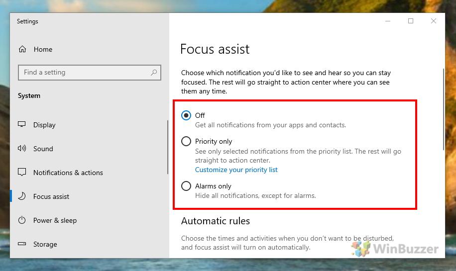 Windows 10 - Settings - Focus assist