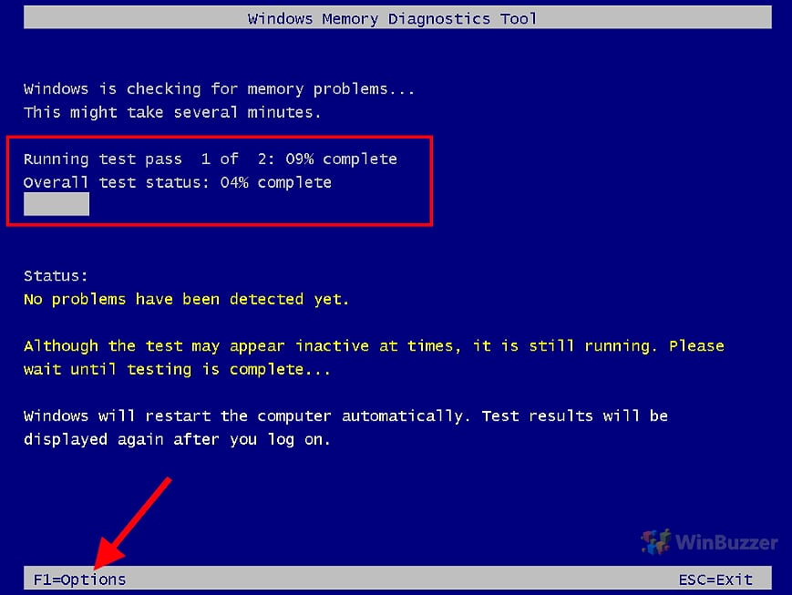 Windows 10 - Windows Memory Diagnostic - Run Test