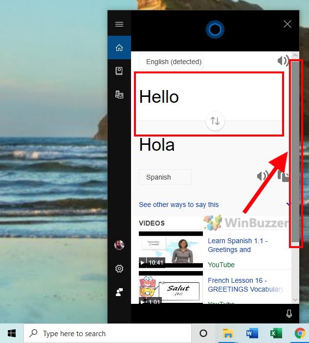 Windows 10 - Cortana - Keyboard input