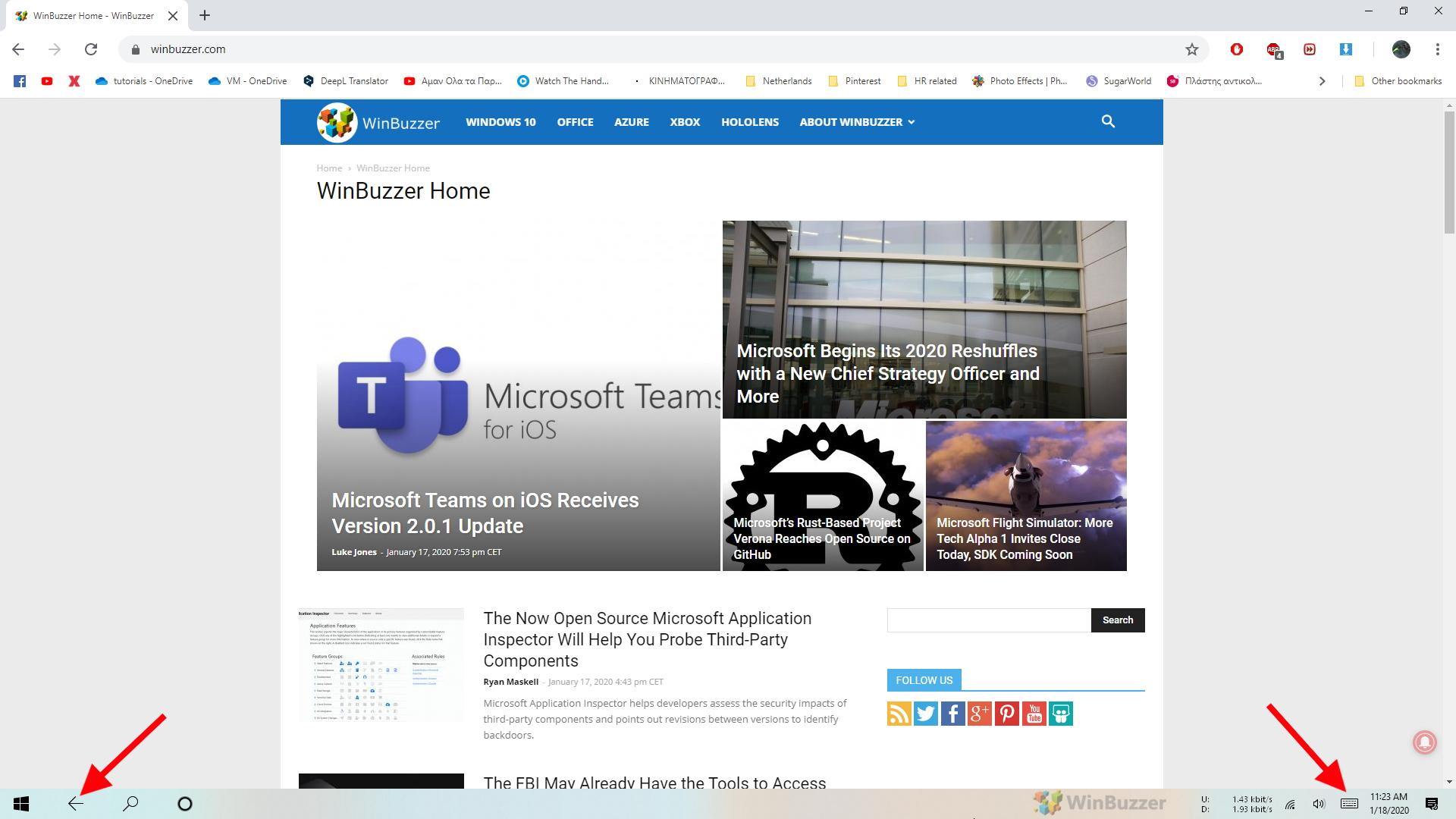 Windows 10 - Tablet Mode - Taskbar