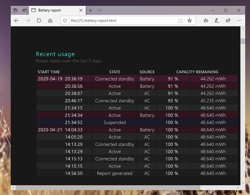 Windows 10 - Powershell - powercfg batteryreport - recent usage