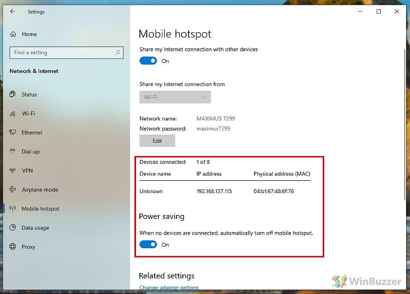 Windows 10 - Settings - Mobile Hotspot - Power saving mode