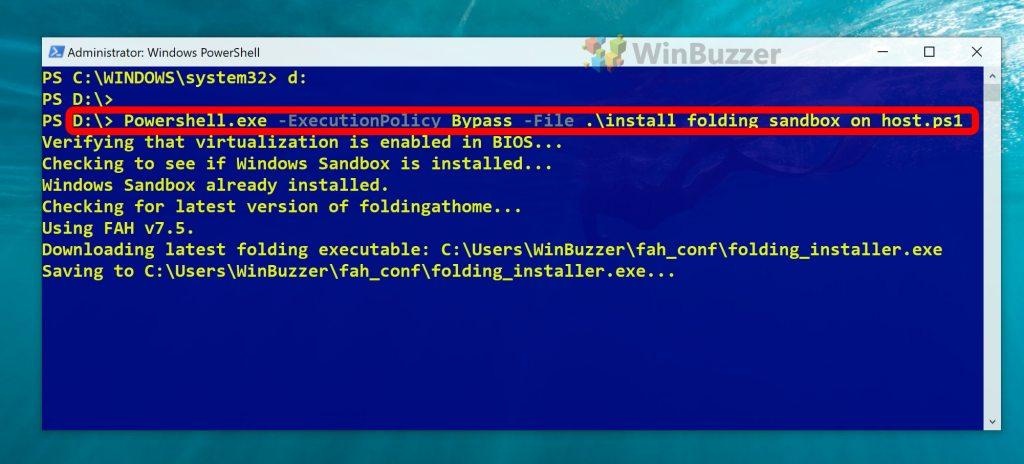 Windows 10 - notepad - run folding@home in sandbox