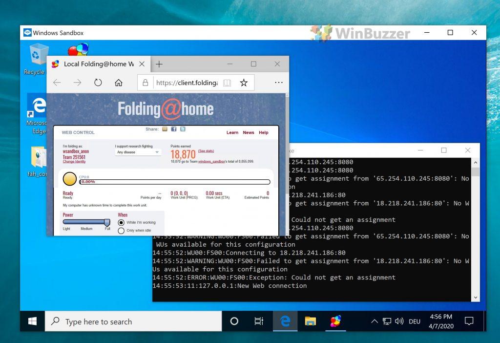 Windows 10 - sandbox - folding@home