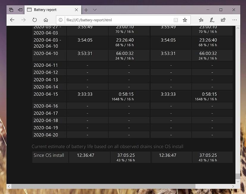 09 Windows 10 - Powershell - powercfg batteryreport - Current estimate of battery life (overall)