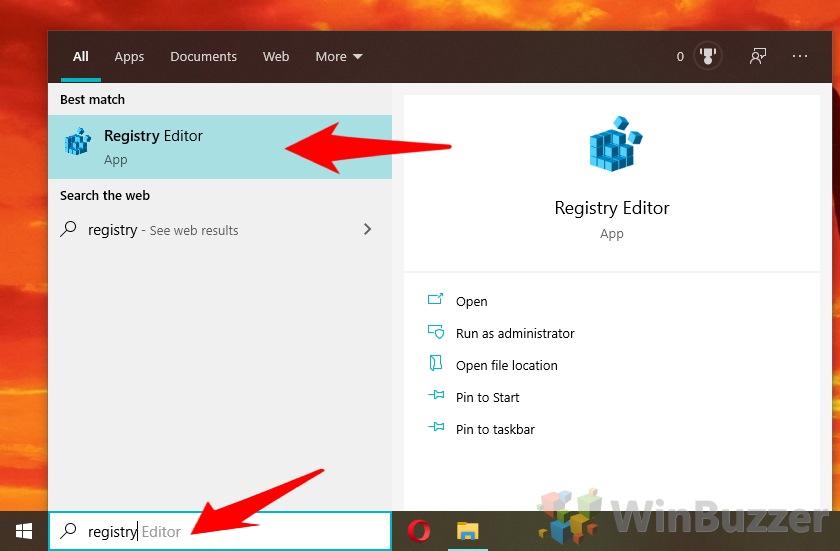 Windows 10 - Search - Registry Editor