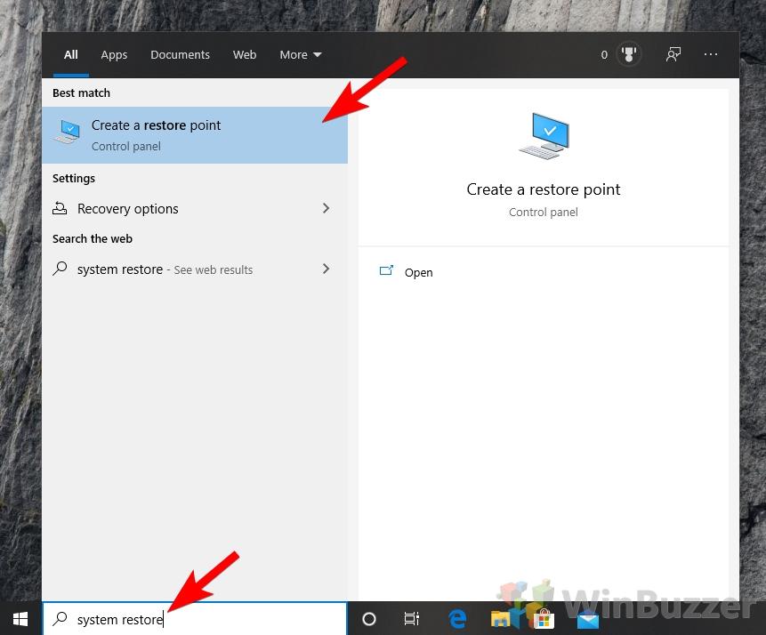 Windows 10 - Search - System Restore