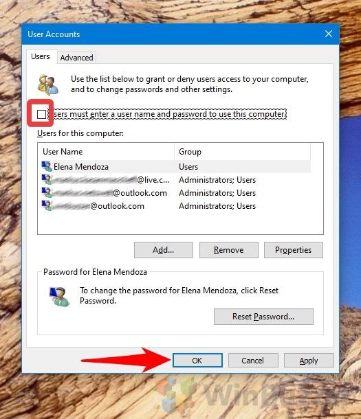 Windows 10 - netplzwiz - User Accounts - Disable logon for all users
