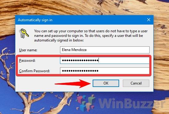 Windows 10 - netplzwiz - User Accounts - Disable logon for selected user - confirm