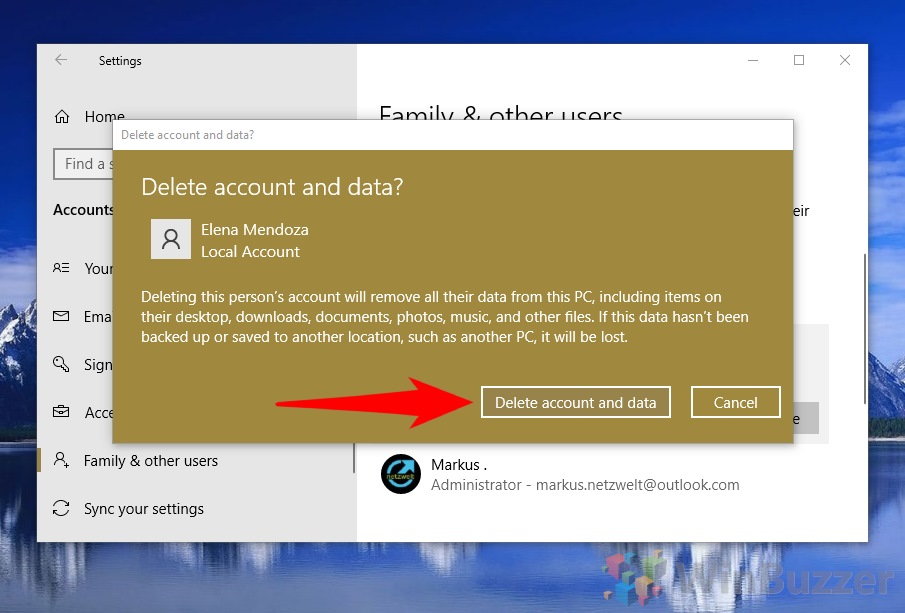Windows 10 - Settings - Accounts - Family and other Users - Delete account (1)