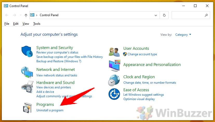 Windows 10 - Control Panel - Programs