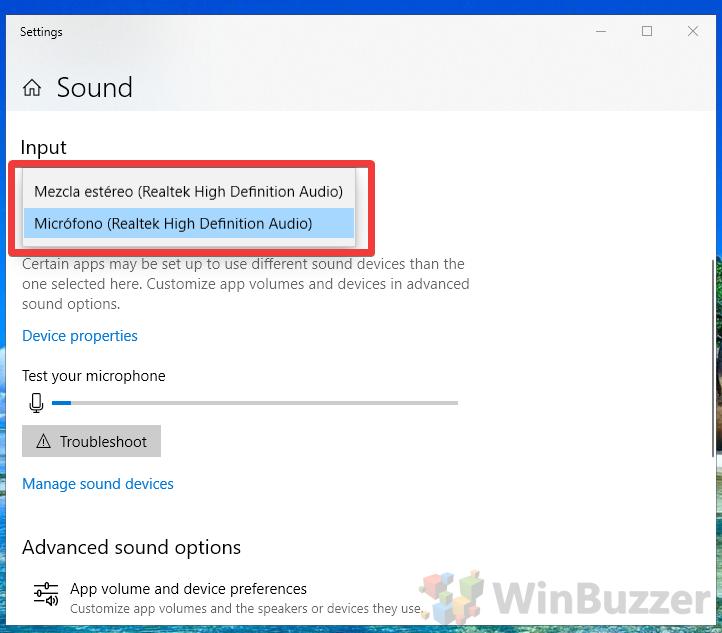 Windows 10 - Sound Settings