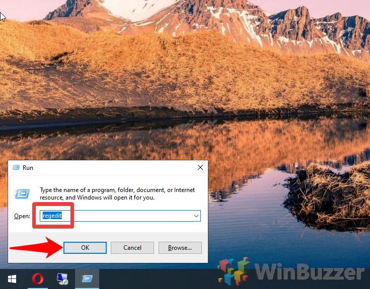 Windows 10 - Run - Regedit