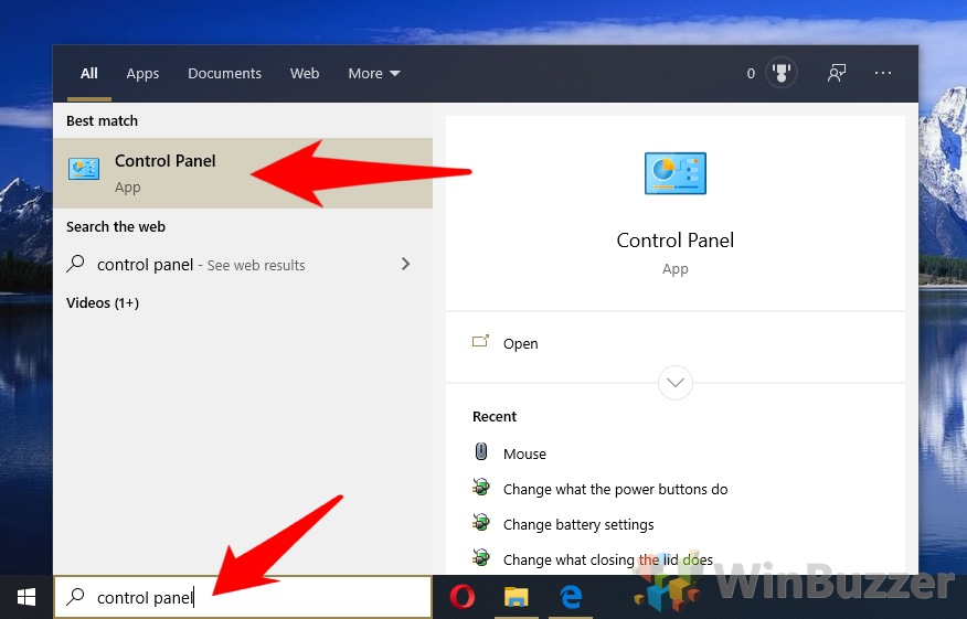 Windows 10 - Search - Control Panel