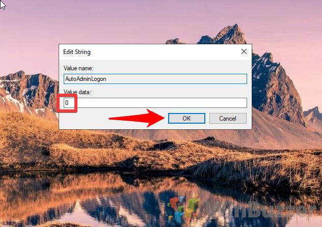 Windows 10 - Regedit - Winlogon - AutoAdminLogon - Set Value data to 0 (1)