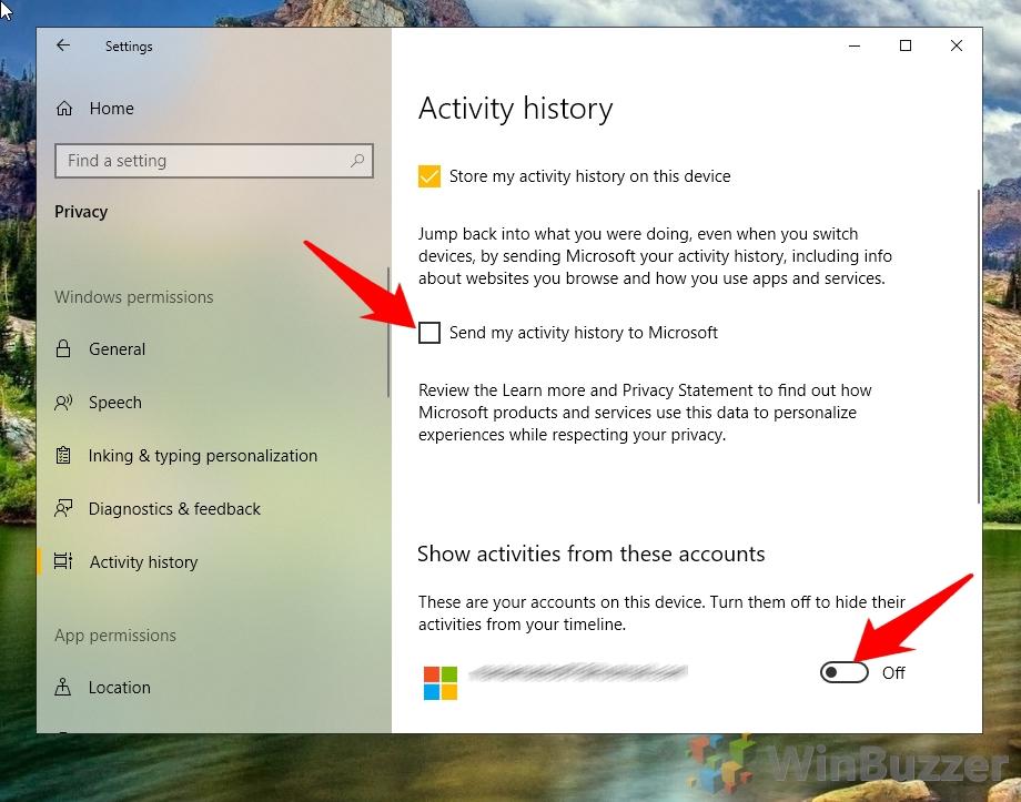 Windows 10 - Settings - Privacy - Activity History